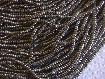 11/0 Bronze Silver Washable Terra Czech Seed Beads