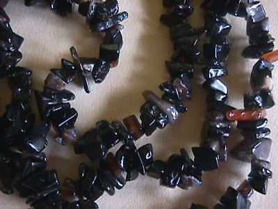 Black Banded Agate Chips Semi Precious Chip Beads 32""