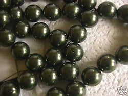 Olive Green 14mm Swarovski Crystal Pearl Beads 10pc
