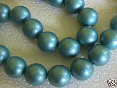 Blue Green Teal 20mm Jumbo Metallic Wood Beads 10pc