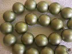Olive Green  20mm Jumbo Metallic Wood Beads 10pc