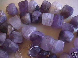 "Natural Amethyst Square Nugget Beads 16"" 10mm 15mm"