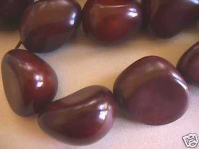Brown Tagua Nut Vegetable Ivory Large Wood Beads 7pc