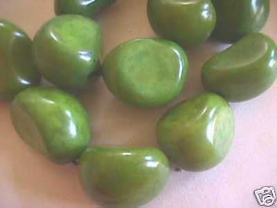 Green Tagua Nut Vegetable Ivory Wood Beads 2pc 40mm