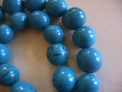 Peacock Blue Tagua Nut Wood Beads 18mm 20mm Round 10p
