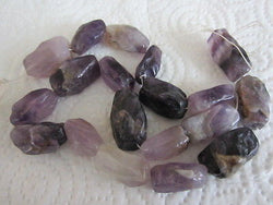 Natural Amethyst Rectangle Nugget Beads 8 PC 20mm 25mm