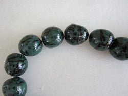 Polished Dark Green & Black Tagua Nut Wood Beads 18mm to 22mm Round 10pc