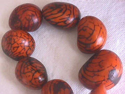 Orange Brown Veg Ivory Tagua Nut Wood Beads 2pc 40mm