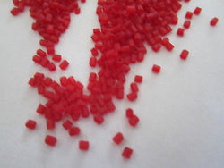 11/0 Red Transparent Matte Hex Cut Seed Beads 25g