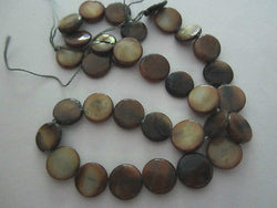 Topaz Gold Brown Olive Natural Mother of Pearl Coin Beads 12mm 15""