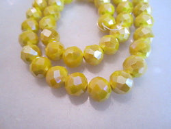 Yellow Opaque AB 10mm Celestial Crystal Beads 15pc