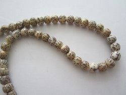 "Natural White and Brown Salwag 8mm Beads 16"" strand"