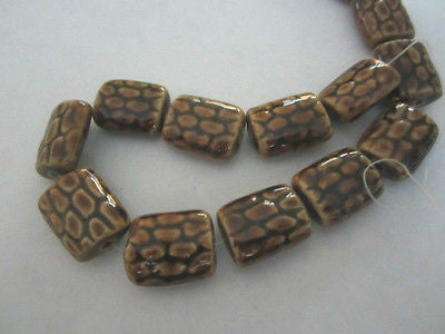 Brown Gold Cream Raku Fish Scale Puffy Rectangle Porcelain Beads 22mm 9pc