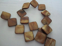 Topaz Gold Brown Olive Natural Mother of Pearl Flat Diamond Beads 26mm 15""