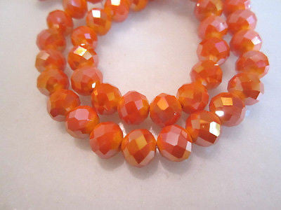 Orange Opaque AB 10mm Celestial Crystal Beads 15pc