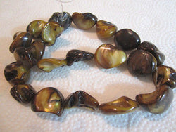 "Tppaz Gold Brown Natural Mother of Pearl Funky Chunky Nugget Beads 16"" st  20mm"