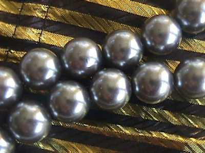 Smoke Gray Hematite 16mm Glass Pearl Beads 12pc