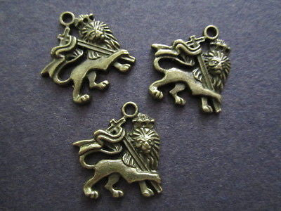 Antique Gold Plate Rasta Lion Of Judah Pendant Bead 30mm x 25mm 10 pc