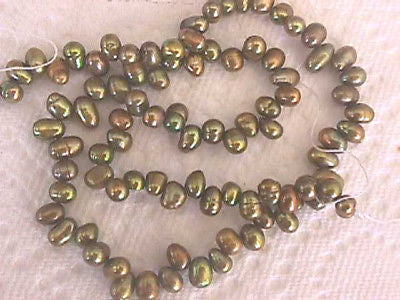 "Olive Gold Iris Cultured Rice Pearl Beads 15"" 7mm x 5mm"