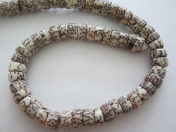 "Natural WHite and Brown Salwag Heishi Rondelle Beads 16""  4mm  x 10mm"
