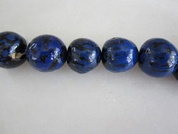 Polished Lapis Blue & Black Tagua Nut Wood Beads 18mm to 22mm Round 15""