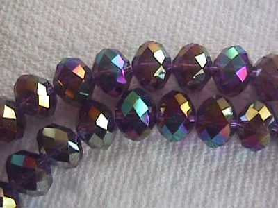 Purple Rainbow Quartz Crystal Rondelle Beads 12mm