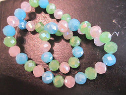 Pink  Aqua Green Opal AB 10mm Celestial Crystal Beads 15pc