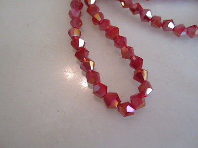Red Opaque 2X AB Celestial Crystal Bicone Beads 6mm 24pc