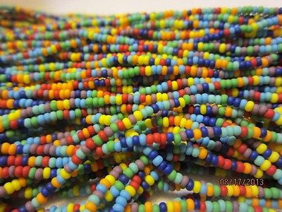 11/0 Matte Color Mix Czech Seed Beads  Red Yellow Orange Aqua Blue Purple Green