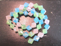 Pink Aqua Green Opal AB 10mm Celestial Crystal Bicone Beads 14pc