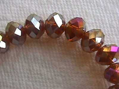 Amber Gold Rainbow Quartz Crystal Rondelle Beads 12mm