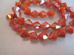 Orange Opaque AB 10mm Celestial Crystal Bicone Beads 14pc