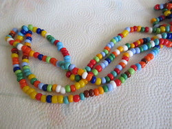 "1/0 Red Blue Green Yellow Orange Czech Crow Seed Beads 20"" Basic Opaque Colors"