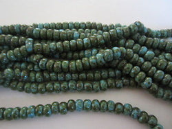 1/0 Turquoise Blue Green Picasso Czech Crow Seed Beads 20""