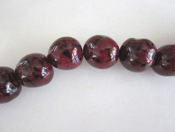 Polished Black Cherry Garnet Red Tagua Nut Wood Beads 18mm to 22mm Round 9pc