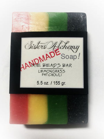 Red Green Yellow Black Stripe Natural Irie Rasta Soap Lemongrass & Patchouli