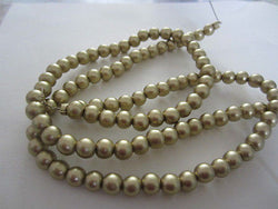 Gold Silk Metallic Round Wood Beads 6mm 16""