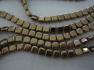 Antique Gold Bronze Flat Square two hole Czech Tile Beads 6mm 30pc