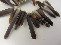 Natural Red Brown Sea Urchin Fossil Branch Spear Beads 30pc