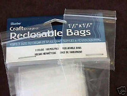 "1.5"" x 1.5"" Plastic Zip Lock Reuseable Storage Bags 100"