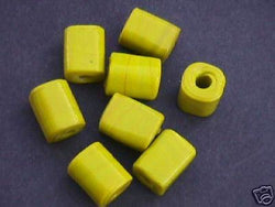 Yellow Big Hole Cube Tube Beads 20mm Macrame 4 Hemp