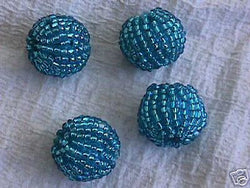 Turquoise Blue Seed Bead Beaded Beads 16mm to 18mm 4pc