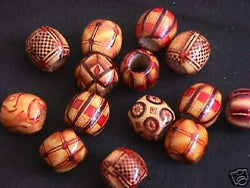 Laquer Painted Art Wood Beads 20pc Macrame 4 Hemp 16mm