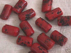 Red Black Speckle 4 Hemp Big Hole Tube Beads 18mm