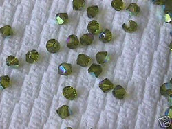 Olivine Green AB Swarovski 5301 Bicone Beads 4mm 24pc