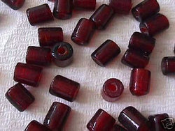 Red Trans Tube Beads 10mm 4 Hemp Purse Handle 3mm Hole