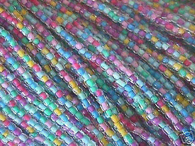 10/0 Pink Blue Lilac Color Lined 3 Cut Czech Seed Beads