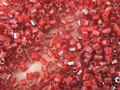 11/0 Coral Red Orange in Mauve Lilac Hex Seed Beads