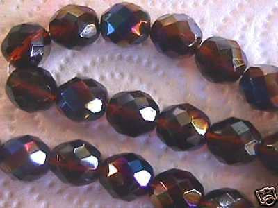 Amber Blue Rainbow Czech Fire Polished Beads 12mm 16pc