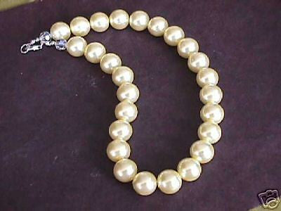 Yellow Faux Pearl Swarovski Crystal Silver Necklace 16mm Sterling Clasp